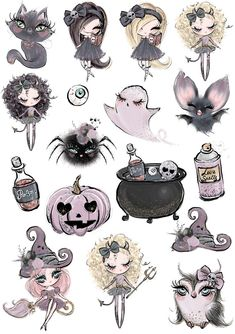 Roses_styles and pages for scrap, Printable Stickers, Cute Stickers, Planner Stickers, Scrapbook Stickers, Imprimibles Halloween, Halloween Art, Cute Halloween Drawings, Creepy Cute, Illustrations And Posters
