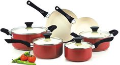 Nonstick Ceramic Coating Ptfe-pfoa-cadmium Free 10-piece Cookware Set, Red Kitchen Appliance ** Learn more by visiting the image link.