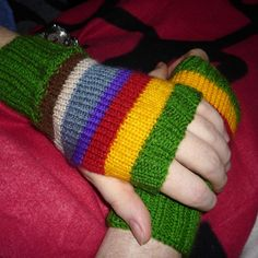 Free knitting pattern Doctor Who Fingerless Mitts - Kathryn Williams designed these easy striped handwarmers to match the Tom Baker Doctor Who Scarves.