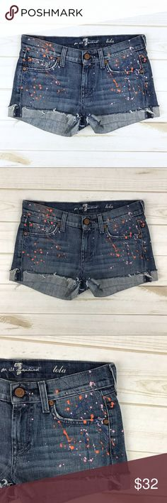 """<7FAM> Lola Denim Cut Off Shorts Paint Splatter Size 25 7 for all Mankind denim cutoff shorts with awesome paint splatter design.   Gently used.  MEASUREMENTS Waist 14.5"""" flat Rise 7.5"""" Inseam 2"""" 7 For All Mankind Shorts Jean Shorts"""