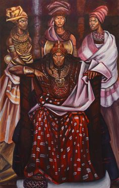 """""""Shango with his three wives Oshun, Oya, and Oba"""" by Stephen Hamilton"""