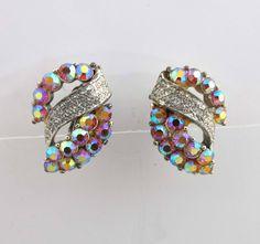 Coro Earrings AB Rhinestones Silver Clip On Backs Aurora Borealis 9019 by JellyBellyJewels on Etsy