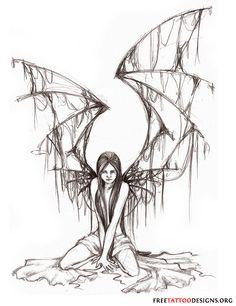 Dark Fairy Tattoos | You will find 65 more fairy tattoos here: Fairy Tattoo Designs...