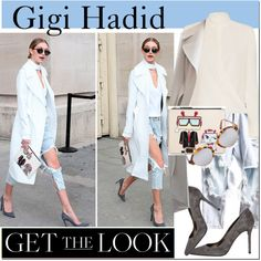 Gigi Hadid by nastya-d on Polyvore featuring Exclusive for Intermix, Karl Lagerfeld, Illesteva, A.L.C., GetTheLook, CelebrityStyle and gigihadid