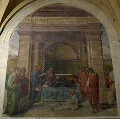 Andrea del Sarto - Morte di san Filippo Benizi e resurrezione di un fanciullo - affresco -  1510 - Chiostrino dei Voti - Chiesa della Santissima Annunziata - Firenze.