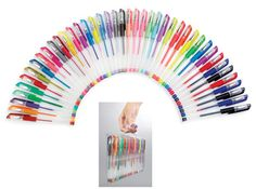 "Create dazzling drawings with this set of 42 gel pens in 8 classic colors, plus 7 pastel, 6 metallic, 6 neon, 12 glitter and 3 four-tone pens. Comes in a plastic carrying case with handles for storage. Pens 6""L. Recommended for ages 6+. - See more at: http://www.collectionsetc.com/Product/42-pc-colorful-gel-pen-travel-set.aspx/_/N-4btlor#sthash.Um1vWt9T.dpuf"