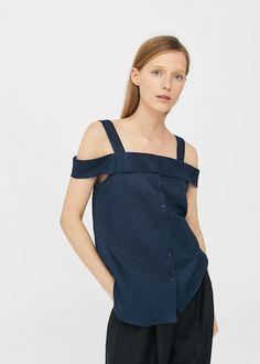 Linen off-shoulder blouse -  Woman | MANGO Netherlands