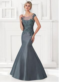 Buy discount Chic Tulle & Satin Bateau Neckline Floor-length Mermaid Mother Of The Bride Dress at Dressilyme.com