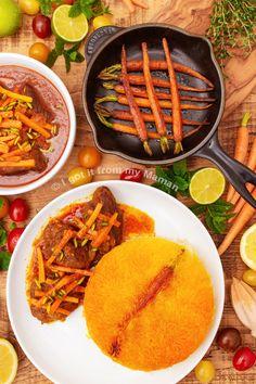 Khoresh-e Havij Recipe - Persian Lamb and Carrot Stew Lamb Stew, Vegetable Puree, Recipe Link, Meal Prep, Persian, Tasty, Healthy Recipes, Stuffed Peppers
