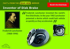 MM | Fact's from Rear View Mirror  Inventor of Disk Brake  Frederick Lanchester invented the world's first Disk Brake. In the year 1902 Lanchester patented a device which could halt vehicle as quickly as they accelerated.  #FrederickLanchester #DiskBrake #MotorMistri