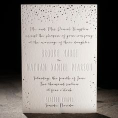 The Midi suite features letterpress and foil wedding invitations with metallic silver envelope liners and platinum foil edging. Eco printed on bamboo paper.