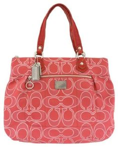 Authentic #Coach Signature Poppy Lurex Glam Tote Bag 17890 Ruby Red