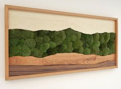 Green Mountain Ridge, Green Moss, Wood Wall Art, Moss and wood, Wall Decoration, Modern Wood Design, Wall Art, Modern Decor