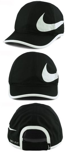 Clothing 70898  Nike Men S Featherlight Swoosh Hat Black Dri-Fit Aerobill  Swoosh Logo 94bf6a08887f