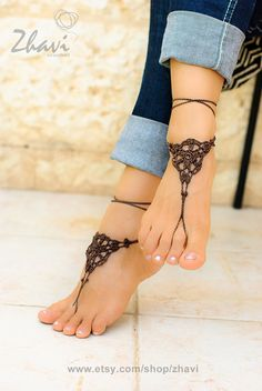 Crochet brown barefoot sandals Nude shoes Foot jewelry by ZHAVI