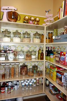 Kitchen, : Handsome Kitchen Pantry Decorating Design Ideas With L Shape White Wooden Pantry Shelving Design And Glass Sugar Jar
