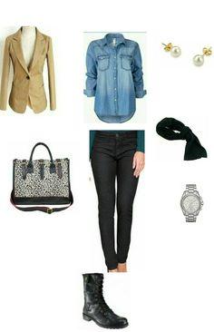 Blazer caqui, camisa jeans, coturno preto e cachecol preto