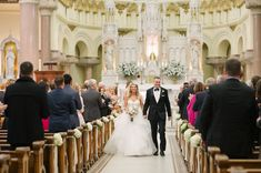 Bride and Groom Walking down the Aisle Portrait | Elegant, Traditional Church Wedding Ceremony | Tampa Wedding Ceremony Venue Sacred Heart Church