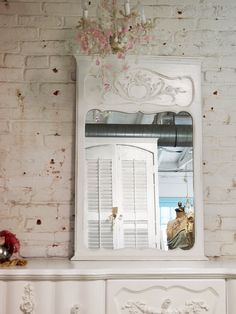 Painted Cottage Chic White French Mirror MR260 by paintedcottages, $110.00