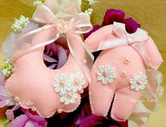 cute felt decoration for a baby shower, as part of center piece or on gift or hung on a clothes line, made!