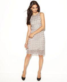 Dress INC International Concepts, Sleeveless High Neck Crochet Lace Sheath  Only@Macys   Web ID: 647333