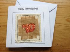 70 birthday card Personalised seventieth birthday. Handmade textile card. Unique personalised with your words printed at the top of the card by FiddlethreadStudio on Etsy