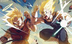 """I watched the two artists form Vegeta VS Goku , and I was deeply touched, so I also drawed one like this. Dragon Ball Z, Fanarts Anime, Anime Characters, Rosario Vampire Anime, Goku Vs, Majin Goku, Beautiful Dragon, Drawing Reference Poses, Son Goku"