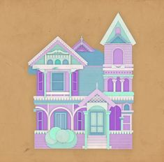 Victorian house in pastel tones.  All rights reserved.