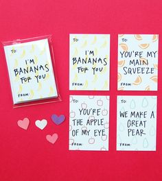 Happy Cactus Designs Valentines for Kids - Friendly and Fruity Mini Valentine's Day Cards Pack of 8  // Available for sale at www.happycactusdesigns.com // All designs are copyright Happy Cactus Designs