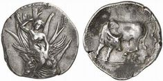 Stater from Gortyna, Crete c. 330-270 BC.  The obverse depicts the mythological scene of the Rape of Europa, where Zeus appeared in the guise of a bull and an eagle to ravish her. Europa is semi-nude and seated in a tree trunk in the form of a bull's head. She's raising her veil with her right hand and holding an eagle with spread wings in the left hand. The reverse shows a bull standing left with its head turned back to ward off a fly from his left rear hoof.