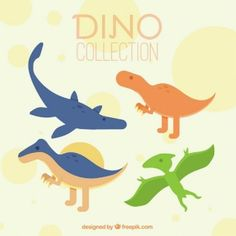 Nice dinosaurs set in colors