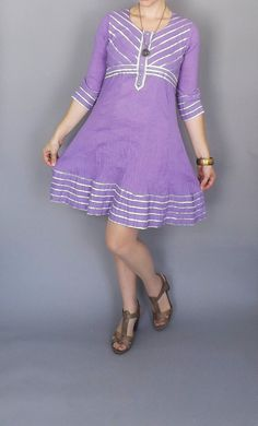 Vintage Purple Silver Striped Cotton Tunic by alicksandraflin