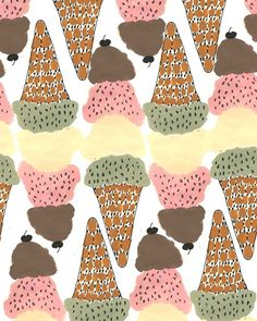 Ice Cream by b&bh Textiles, Textile Patterns, Textile Design, Design Art, Interior Design, Cupcake Drawing, Elements And Principles, Pretty Patterns, Eye Art