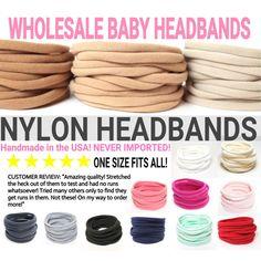Wholesale Nylon Baby Headband / DIY Headband by CharleyCharlesShop - All The Kid Things - Baby Headbands Baby Headband Tutorial, Diy Baby Headbands, Stretchy Headbands, Diy Headband, Headband Pattern, Flower Headbands, Diy Bow, Diy Hair Bows, Fabric Hair Bows