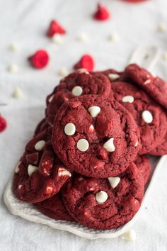 White Chocolate Chip Red Velvet Cookies made super easy with Bisquick! Use gluten free bisquick! Bisquick Recipes, Baking Recipes, Cookie Recipes, Dessert Recipes, Red Velvet Cookies, White Chocolate Chip Cookies, Just Desserts, Delicious Desserts, Yummy Food