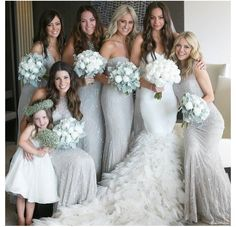 Glittery/grey bridesmaids dresses