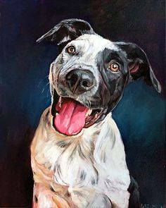 Jet the Blue Heeler. Custom dog portrait by BFF Pet Paintings by David Kennett. Dog art, dog portrait, dog painting, dog artist.