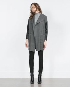 ZARA - WOMAN - COAT WITH FAUX LEATHER SLEEVES