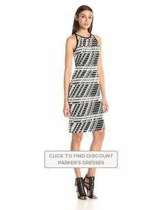 Parker #Womens #Timber #Sleeveless Dress #Black #Dresses #Nylon #Parker @parkernewyork #Polyester #White #ZigZag #WTS #WhoTopsSyle