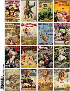 CIRQUE - Digital Printable Collage Sheet - Vintage French Circus Banners with Magicians & Wild West Michelangelo, Circus Crafts, Domino Art, Circus Poster, Graphics Fairy, Funny Tattoos, Vintage Circus, Planners, Vintage Postcards