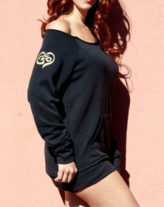 Heart Om Symbol- Black Yellow Sexy Off the Shoulder Scoop Neck Boat Neck on Etsy, $39.00