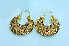 Ethnic tribal Vintage style Hoop Bag style dangle metal design Indian earrings