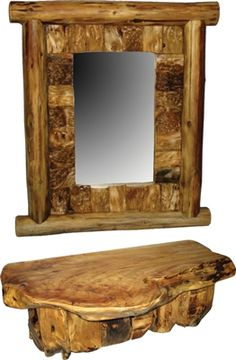 """Fir Wood Mirror & Shelf - 40""""W x 30""""H - Visit our website at www.crystalcreekdecor.com for more sizes and selections at great prices!  Also be sure to join our mailing list for upcoming offers, new products and special package deals."""