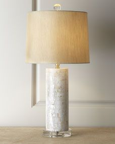 """Mother-of-Pearl Lamp  Horchow $275.00 30% Off Beige hardback shade. Uses one 100-watt bulb. 13""""Dia. x 26""""T. Imported."""