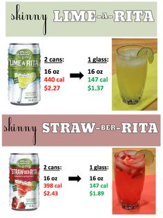 Make skinny versions of the Lime-A-Rita and Straw-Ber-Rita. These are similar to lime and strawberry beer margaritas. These have less chemicals and are cheaper than the original versions.