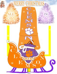 Clemson Tiger Sleigh Merry Christmas Greeting Card by SonnyBuds on Etsy Christmas Jesus, Merry Christmas Greetings, Christmas Greeting Cards, Christmas Balls, Clemson Football, Clemson Tigers, Orange And Purple, Etsy Shop, Handmade Gifts