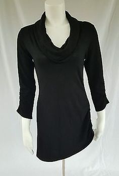 Love Always Black Medium 3/4 Sleeve Cowl Neck Tunic Sweater Ruching Side Zipper