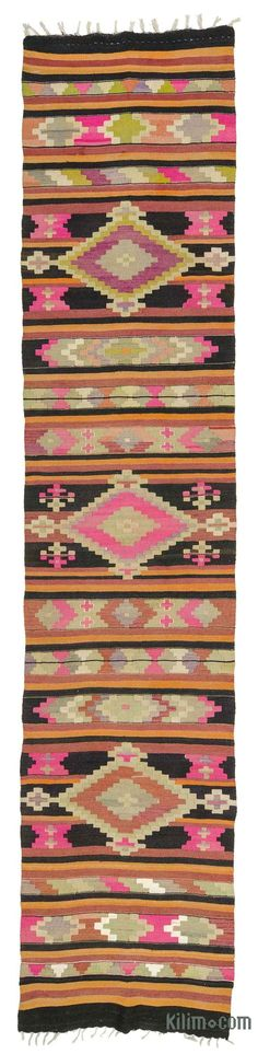 K0027709 Multicolor Vintage Puturge Kilim Runner | Kilim Rugs, Overdyed Vintage Rugs, Hand-made Turkish Rugs, Patchwork Carpets by Kilim.com