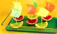 Awesome idea for party and afternoon snacks. Just cut your orange in half and take out all the orange with a spoon.. put the half oranges into cups to stop them from tipping and pour in the jelly. When the jelly has set take out the jelly orange and cut into quarters!!!
