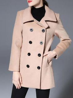 Fashion Wide Lapel Long Sleeve Double Breasted Over coat Outwears